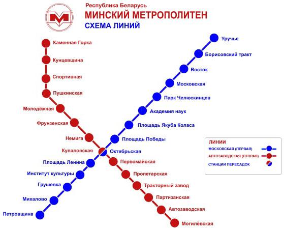 и метро (схема Минского